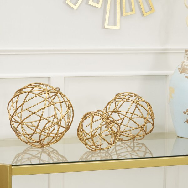 Hasson Twig Decorative Sphere 3 Piece Sculpture Set by Mercer41