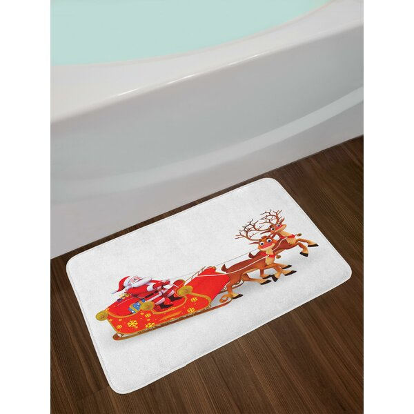 Funny Cute Cartoon Style Reindeer Santa Claus with a Big Smile and Surprise Boxes Bath Rug by East Urban Home