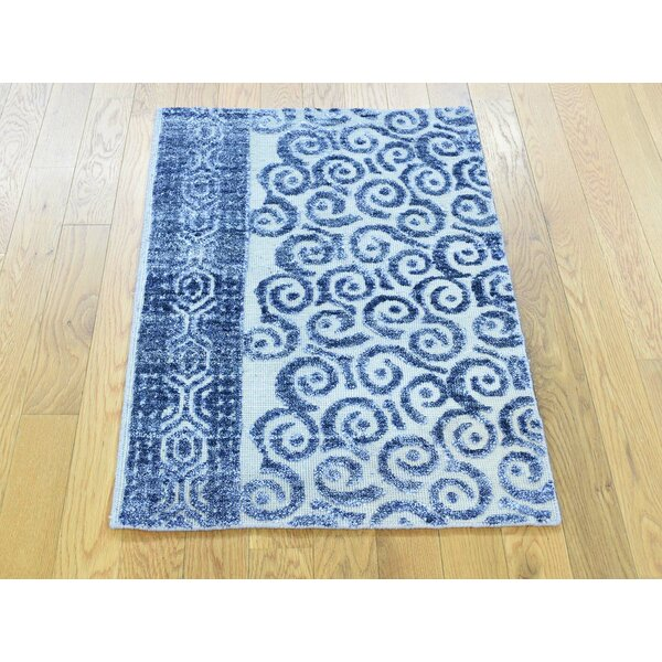 One-of-a-Kind Boulware Art Denim Hand-Knotted Blue Silk Area Rug by Isabelline