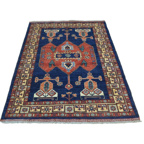 One-of-a-Kind Afghan Ersari Cast Hand-Knotted Blue/Rust Red Area Rug by Bloomsbury Market