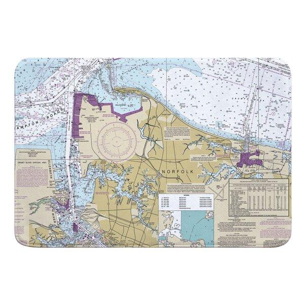 Nautical Chart Norfolk VA Rectangle Memory Foam Non-Slip Bath Rug