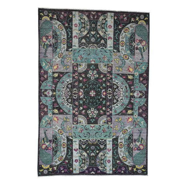 One-of-a-Kind Ducote Peshawar Googosh Collection Hand-Knotted Purple Area Rug by World Menagerie