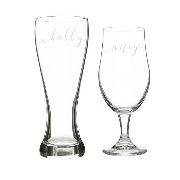 Hubby & Wifey Pilsner Glass Set by Cathys Concepts