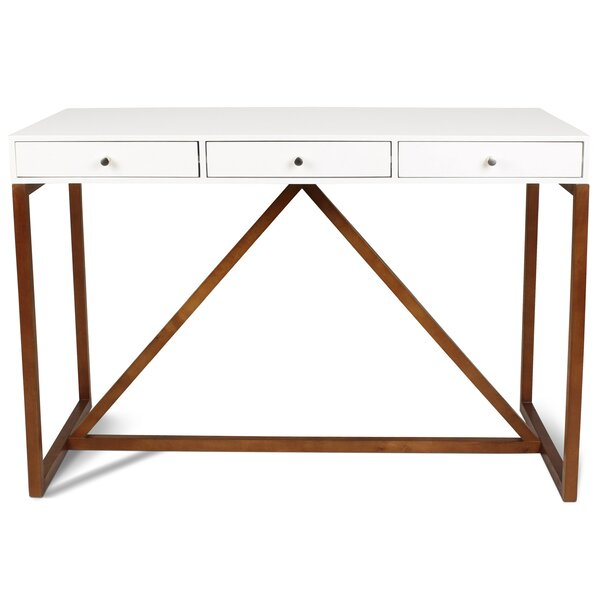 Dunstan Two Toned Wood Writing Desk by Gracie Oaks