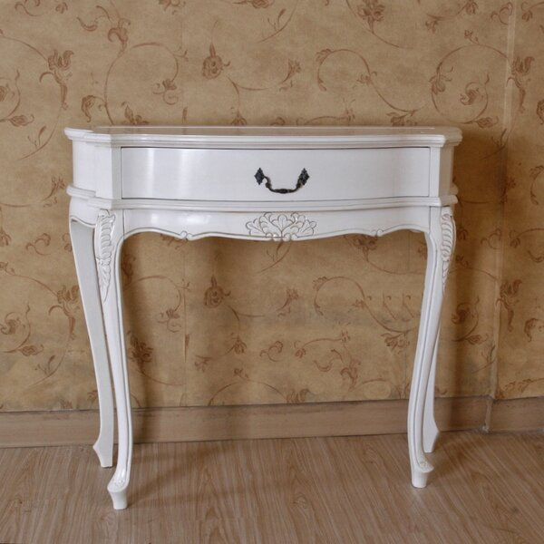 Adelinna Hand Carved Antique White Console Table by Ophelia & Co. Ophelia & Co.
