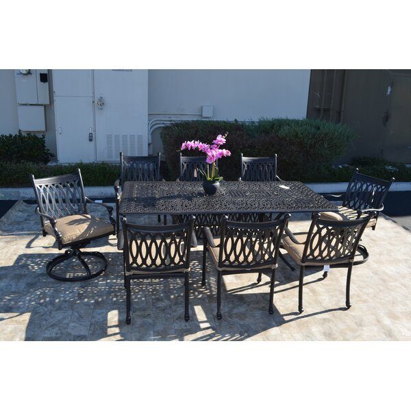 Baragrey 9 Piece Dining Set with Cushions by Fleur De Lis Living