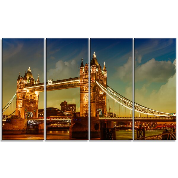 Majesty of Tower Bridge - Cityscape 4 Piece Photographic Print on Wrapped Canvas Set by Design Art