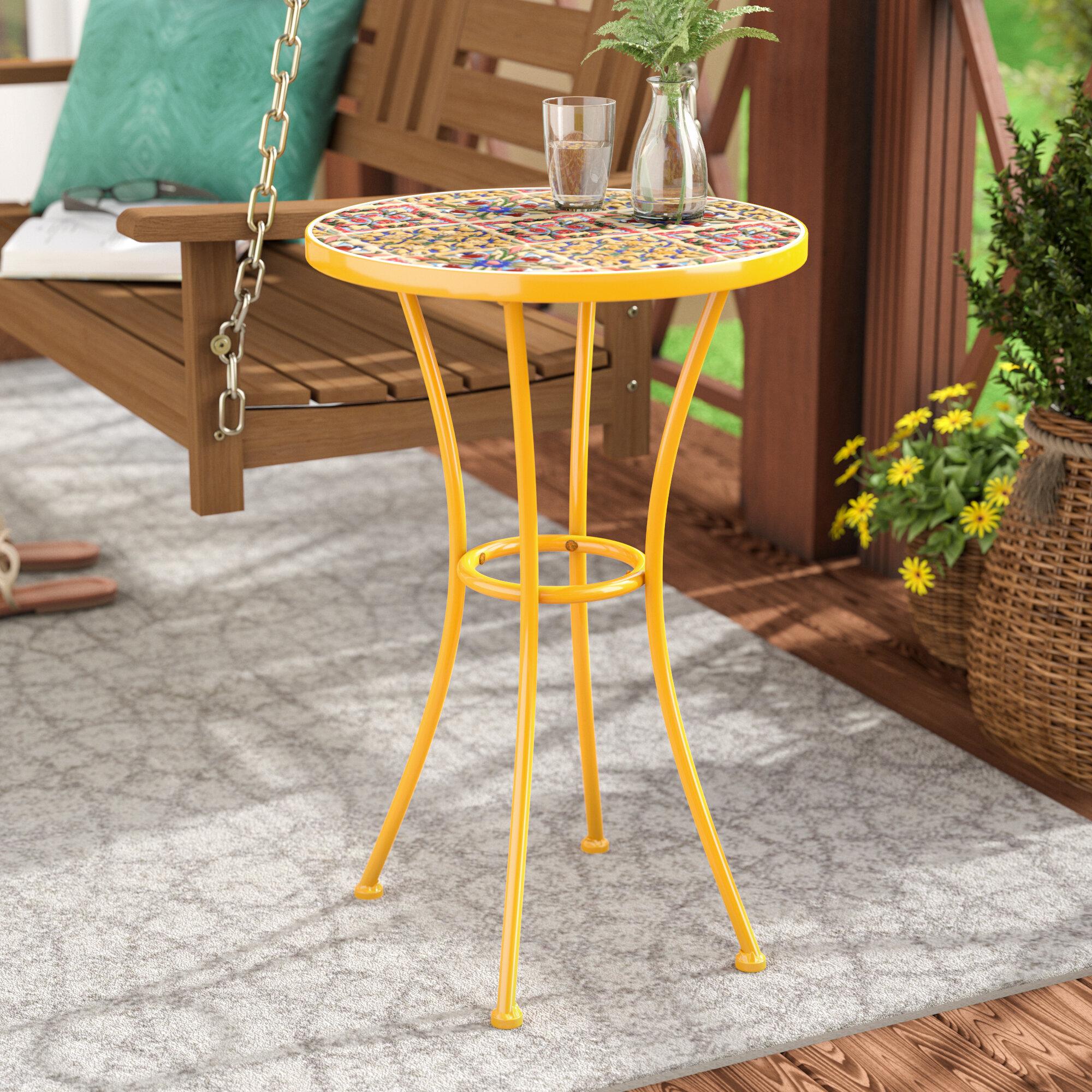 Bungalow Rose Chantel Outdoor Ceramic Tile Side Table & Reviews ...