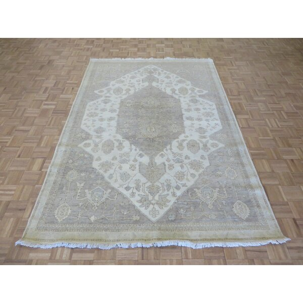 One-of-a-Kind Josephson Turkish Oushak Hand-Knotted Ivory/Gray Area Rug by Canora Grey