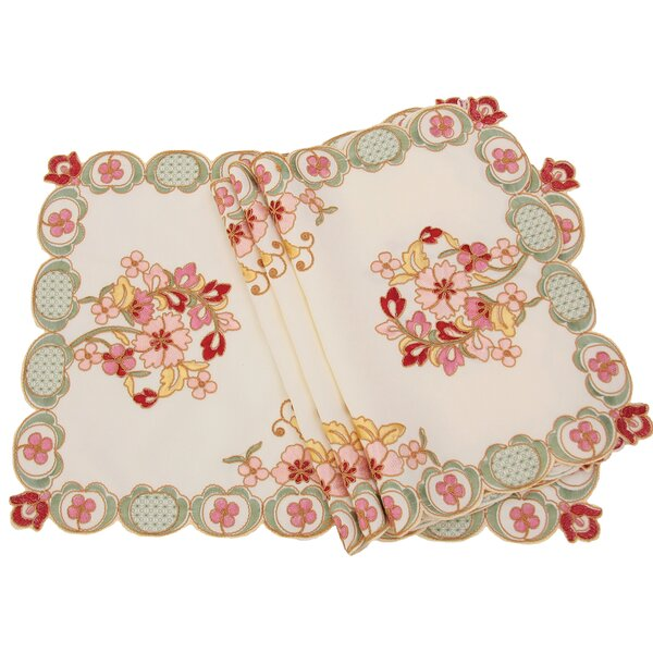 Primrose Embroidered Cutwork Placemat (Set of 4) by Manor Luxe