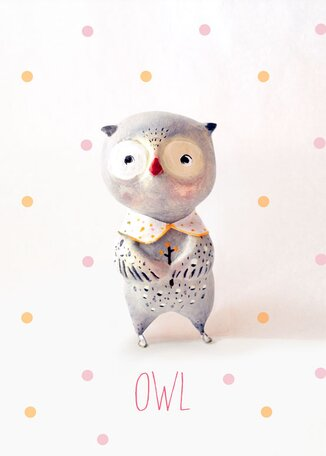 Paper Mache Owl by Paola Zakimi Canvas Art by Oopsy Daisy