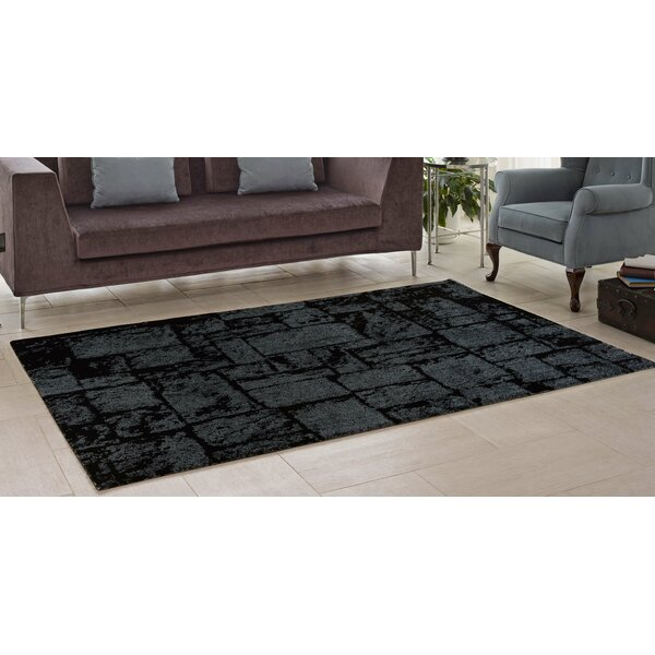 Nehemiah Patch Gray/Black Area Rug by Williston Forge