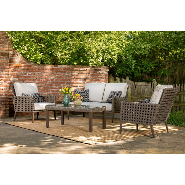 Keira 4 Piece Sofa Set with Cushions by Bungalow Rose