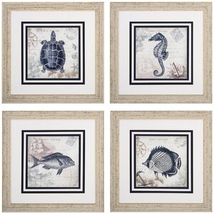 Seaside 4 Piece Framed Graphic Art Set by Beachcrest Home
