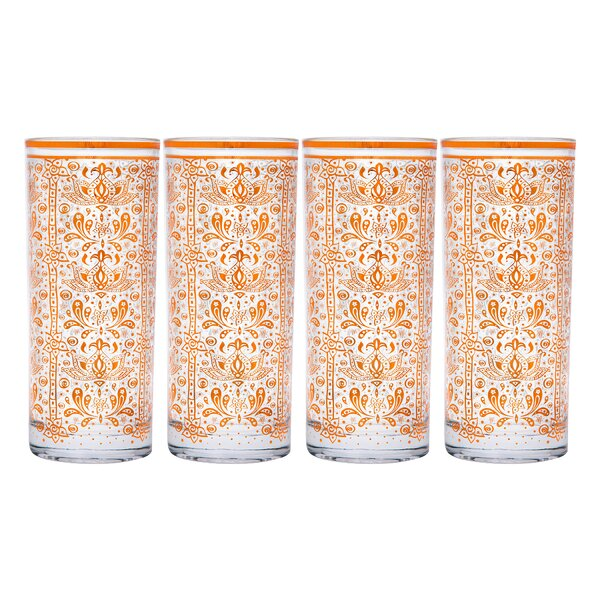Karpinski Moroccan Copper 10.5 Oz Highball Glass Set (Set of 4) by Bloomsbury Market