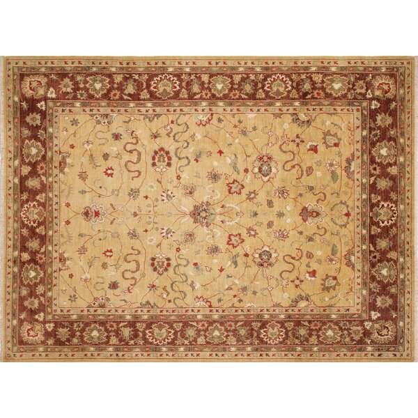 One-of-a-Kind Romona Hand-Knotted Rectangle Gold Indoor Area Rug by Isabelline