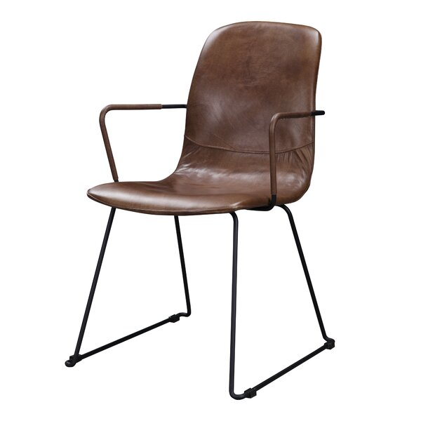 Lamont Genuine Leather Upholstered Dining Chair by Foundry Select