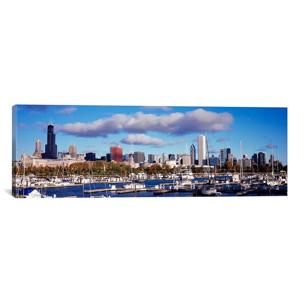 Panoramic Boats Docked at Burnham Harbor, Chicago, Illinois Photographic Print on Canvas by iCanvas