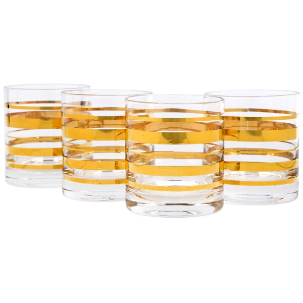 Feingold Posh Gold Bangle Double 10 oz. Old Fashioned Glass (Set of 4) by Charlton Home