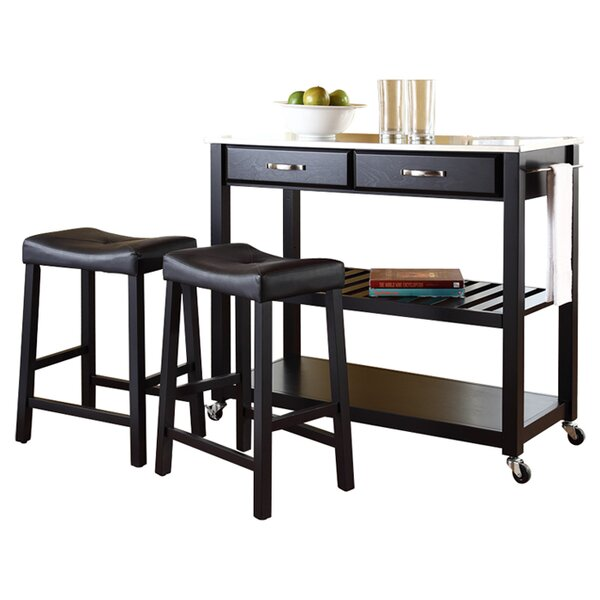 Hedon 3 Piece Kitchen Island Set with Stainless Steel Top by Three Posts
