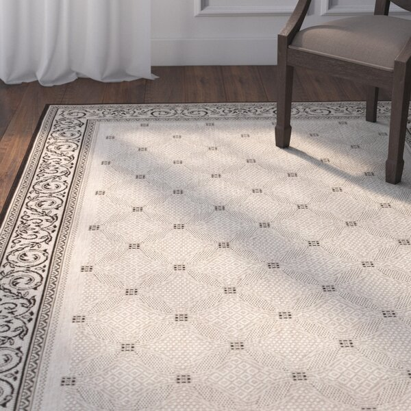 Beasley Ivory/Black Border Indoor/Outdoor Area Rug by Astoria Grand