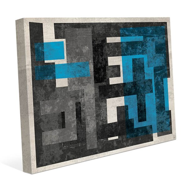 Industrial Corridor C Blue Graphic Art on Wrapped Canvas by Click Wall Art