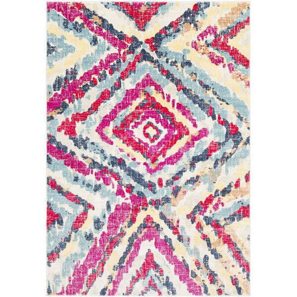 Aule Vibrant Distressed Pink/Bright Red Area Rug by Mercer41