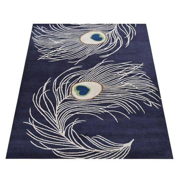 Rackers Hand-Tufted Wool Navy Area Rug by World Menagerie