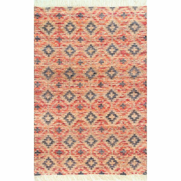 Gaynell Hand-Knotted Orange Area Rug by Bungalow Rose