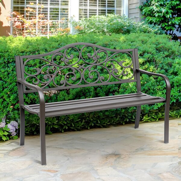 Kane Flower Pattern Cast Iron Garden Bench by Fleur De Lis Living