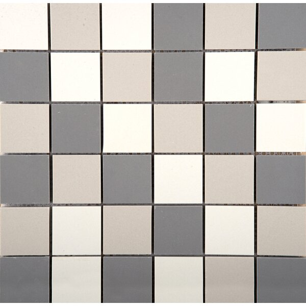 Times Square Porcelain Cube Mosaic Tile in Black White and Gray by Emser Tile
