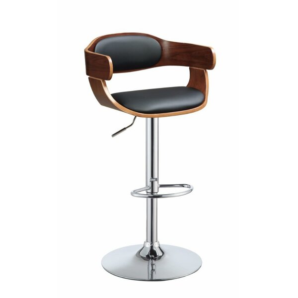 Theodore Wooden Adjustable Height Swivel Bar Stool by George Oliver