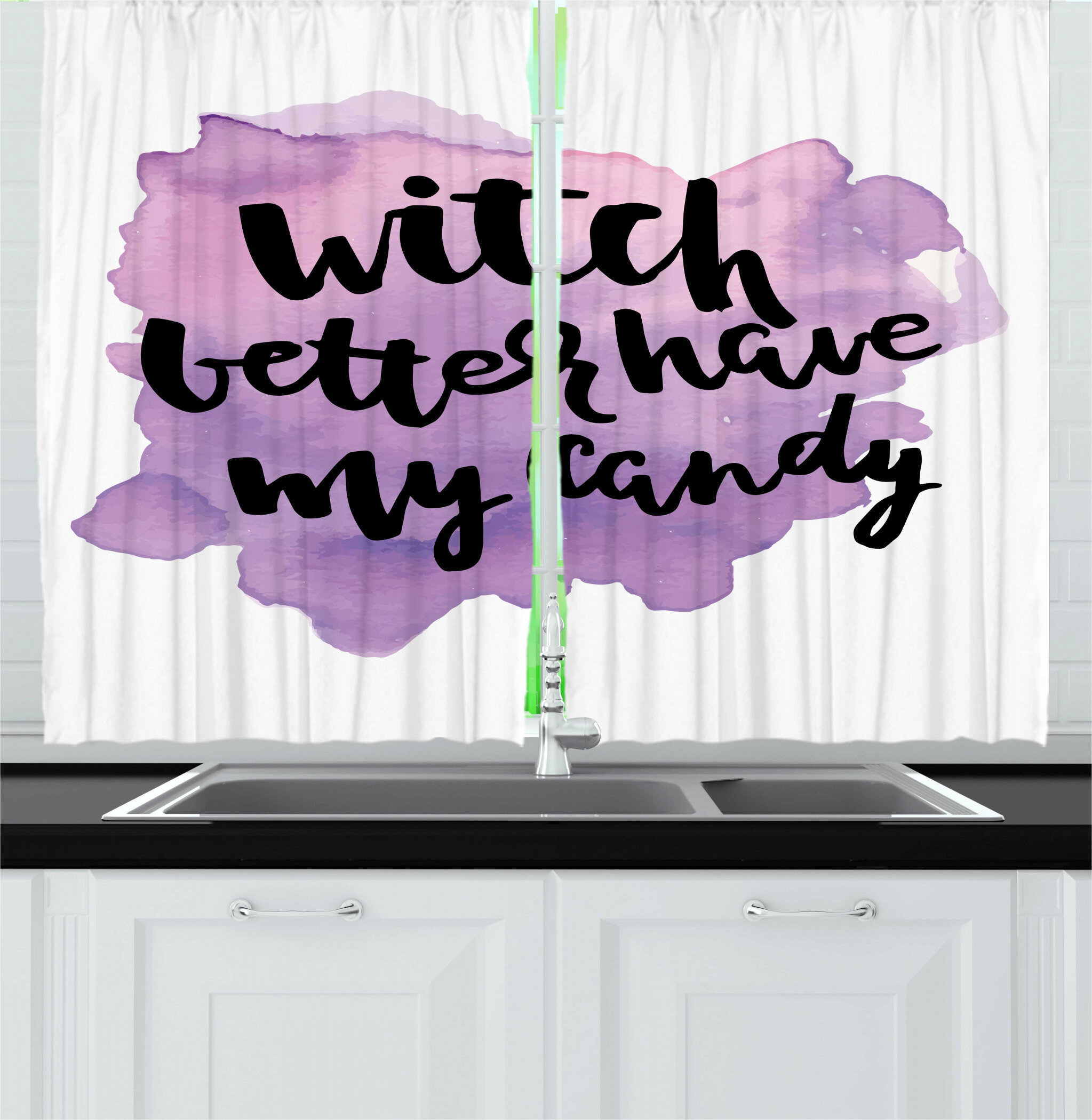 East Urban Home 2 Piece Halloween Witch Better Have My Candy Calligraphy Funny Halloween Saying Kitchen Curtain Set Wayfair