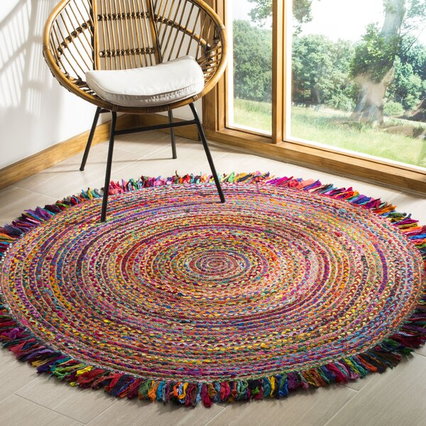 Abhay Boho Hand Woven Cotton Round Red/Blue Area Rug by Bungalow Rose