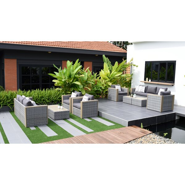 Tahara 10 Piece Rattan Sofa Seating Group with Cushions by Beachcrest Home