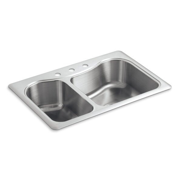 Staccato 33 L x 22 W Drop-In Kitchen Sink with 3 Faucet Holes