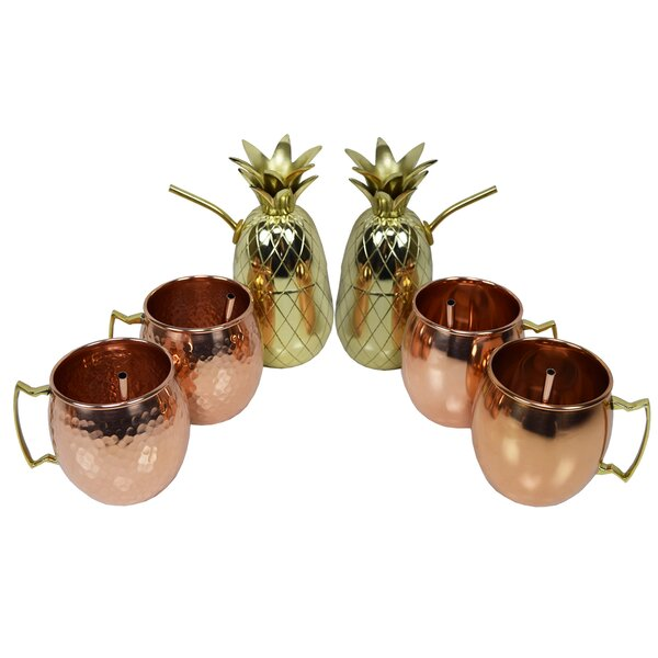 Krieger 6 Piece Copper Assorted Glassware Set by Bayou Breeze