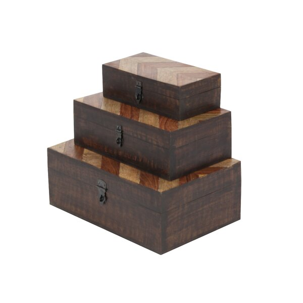 Wood Parque 3 Piece Decorative Box Set by Cole & Grey