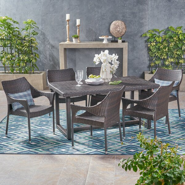 Aarhus Outdoor 7 Piece Dining Set by Bungalow Rose
