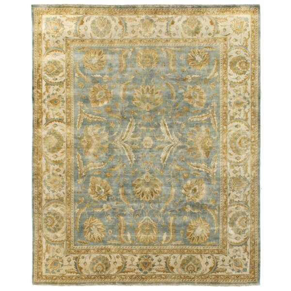 Oushak Hand-Knotted Wool Beige/Blue Area Rug by Exquisite Rugs