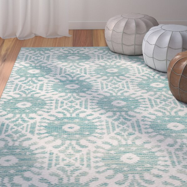 Clemence Hand-Woven Aqua/Ivory Area Rug by Bungalow Rose
