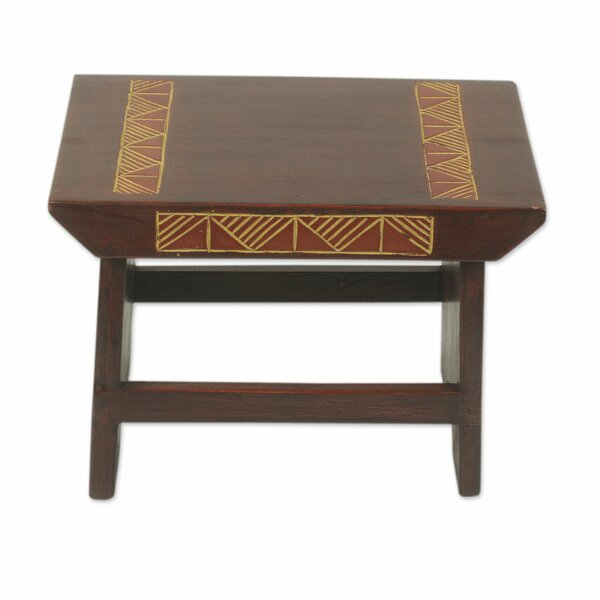 McHenry Masks Wood Accent Stool by Bloomsbury Market