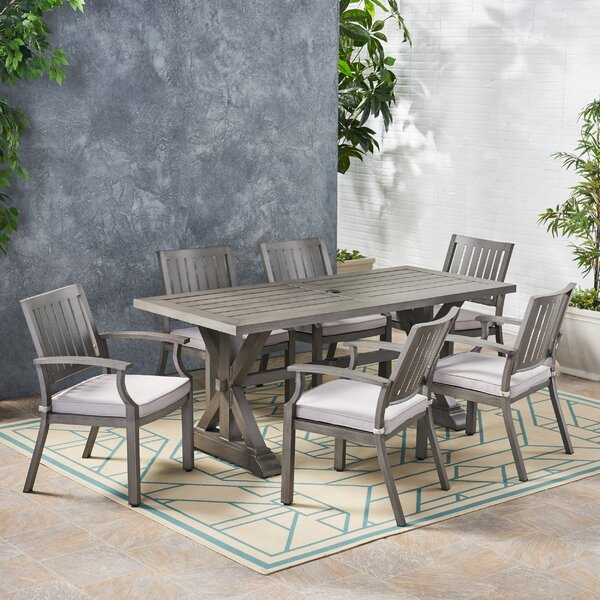Pensacola Outdoor Modern 7 Piece Dining Set With Cushions