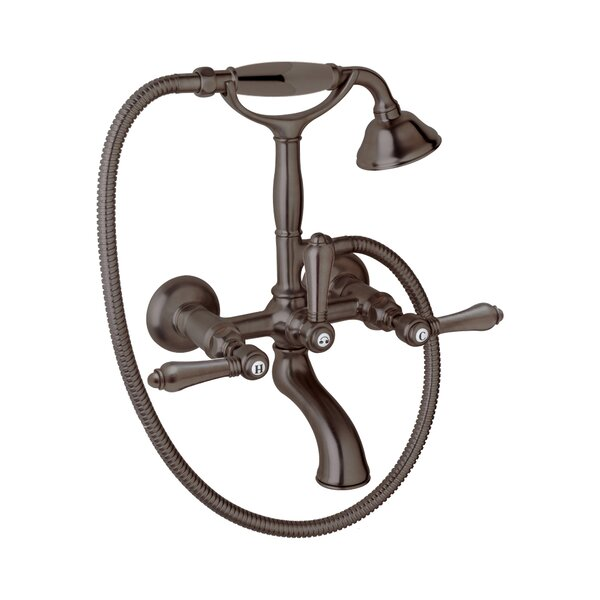 Country Bath Triple Handle Wall Mounted Clawfoot Tub Faucet with Handshower by Rohl Rohl
