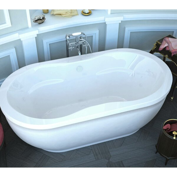 Vivara 71.25 x 35.87 Oval Freestanding Air Jetted Bathtub with Center Drain by Spa Escapes