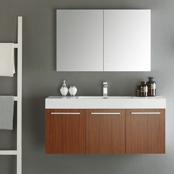 Senza 48 Vista Single Wall Mounted Modern Bathroom Vanity Set with Mirror by Fresca