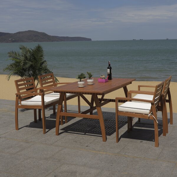 Upper Swainswick 5 Piece Dining Set with Cushions by Highland Dunes