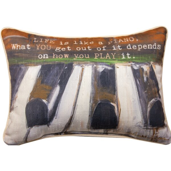 Life is Like a Piano - Rect Dye Lumbar Pillow by Manual Woodworkers & Weavers