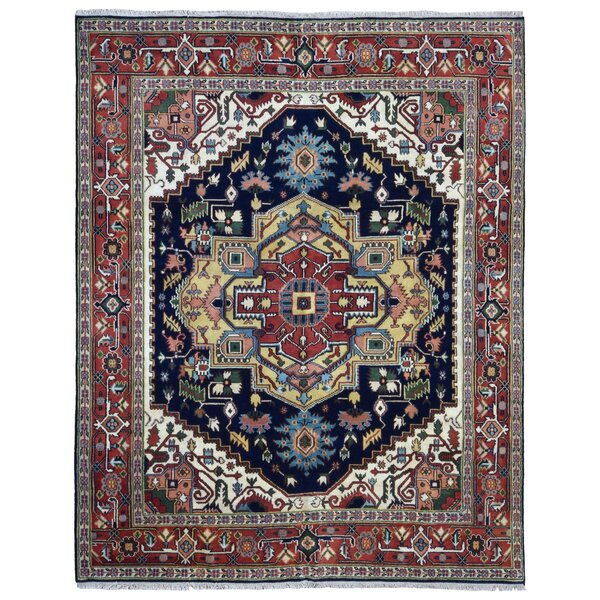 Roselle Hand Woven Wool Red/Blue Area Rug by Bloomsbury Market