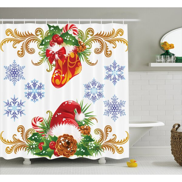 Christmas Stocking Santa Hat Shower Curtain by The Holiday Aisle